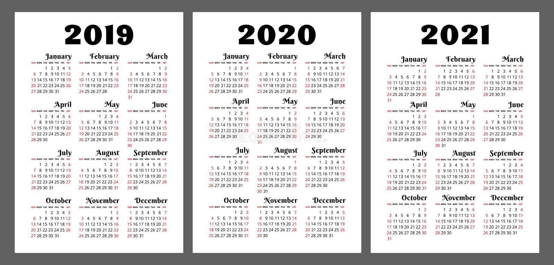 日历2019年2020年, 2021年 五颜六色的传染媒介集合 星期开始.