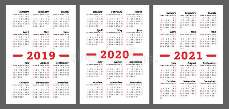 日历2019年2020年, 2021年 五颜六色的传染媒介集合 星期开始