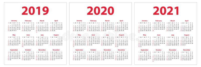 日历2019年2020年, 2021年 五颜六色的集 在Su的星期开始 向量例证