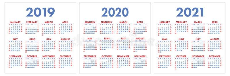 日历2019年2020年, 2021年 五颜六色的集 在Su的星期开始 免版税图库摄影