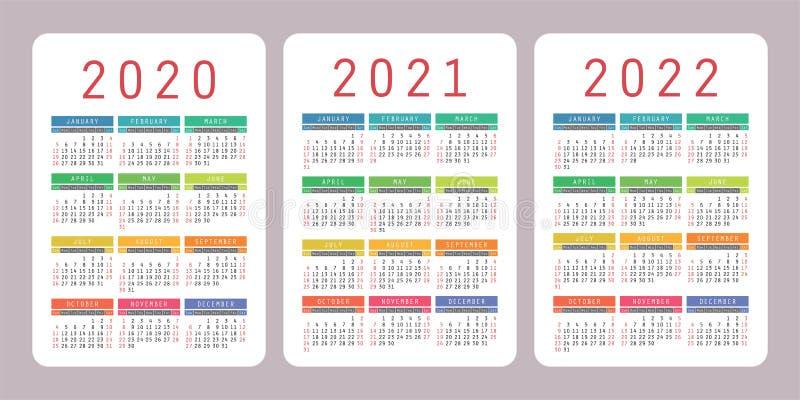 日历2020年2021年,2022年 垂直的传染媒介日历设计模板 五颜六色的集图片