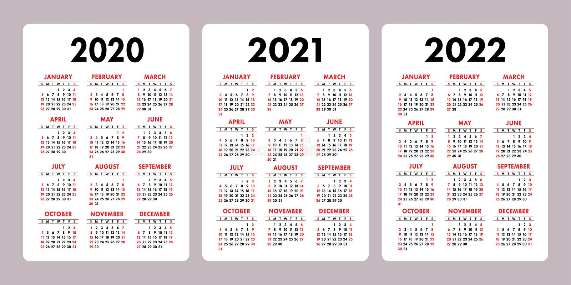 日历2020年2021年,2022年 垂直的传染媒介日历设计模板 集合 在星期天