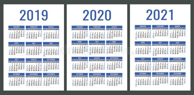 日历2019年2020年, 2021年 垂直的日历简单设计
