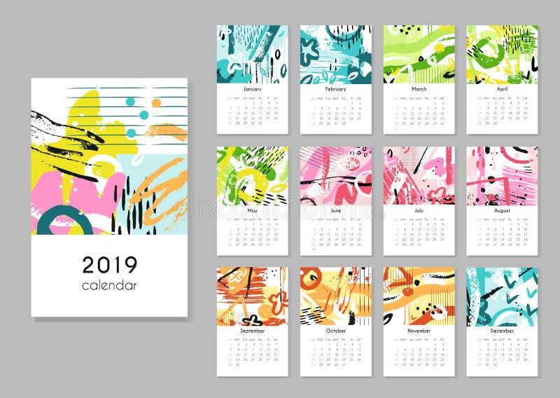 日历2019年 晒干拼贴画,抽象绘画现代创造性的可印的计划者 有日历栅格的传染媒介组织者 库存例证