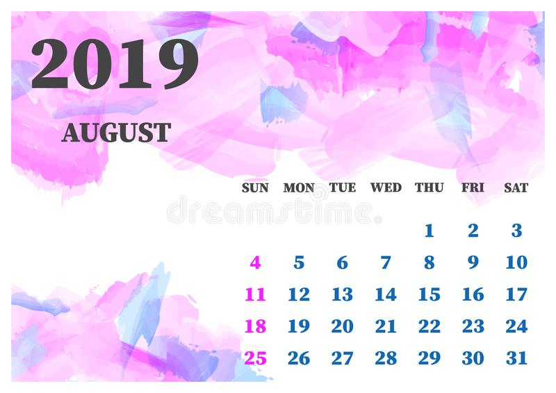 日历2019年8月水彩传染媒介例证 为容易的编辑例证编组的层数 设计您图片