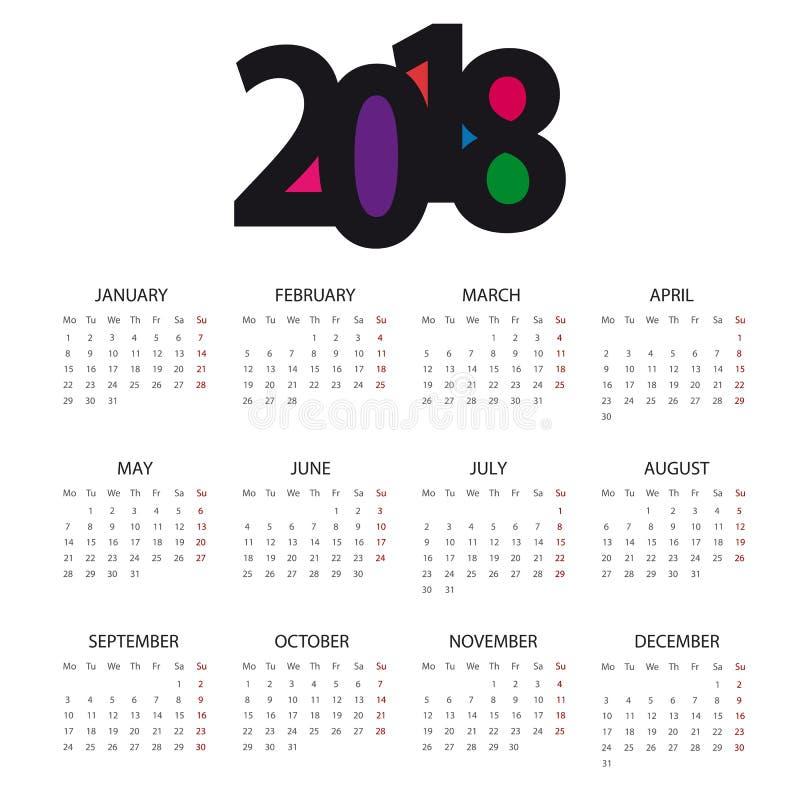 日历2018年-编辑可能的传染媒介 向量例证