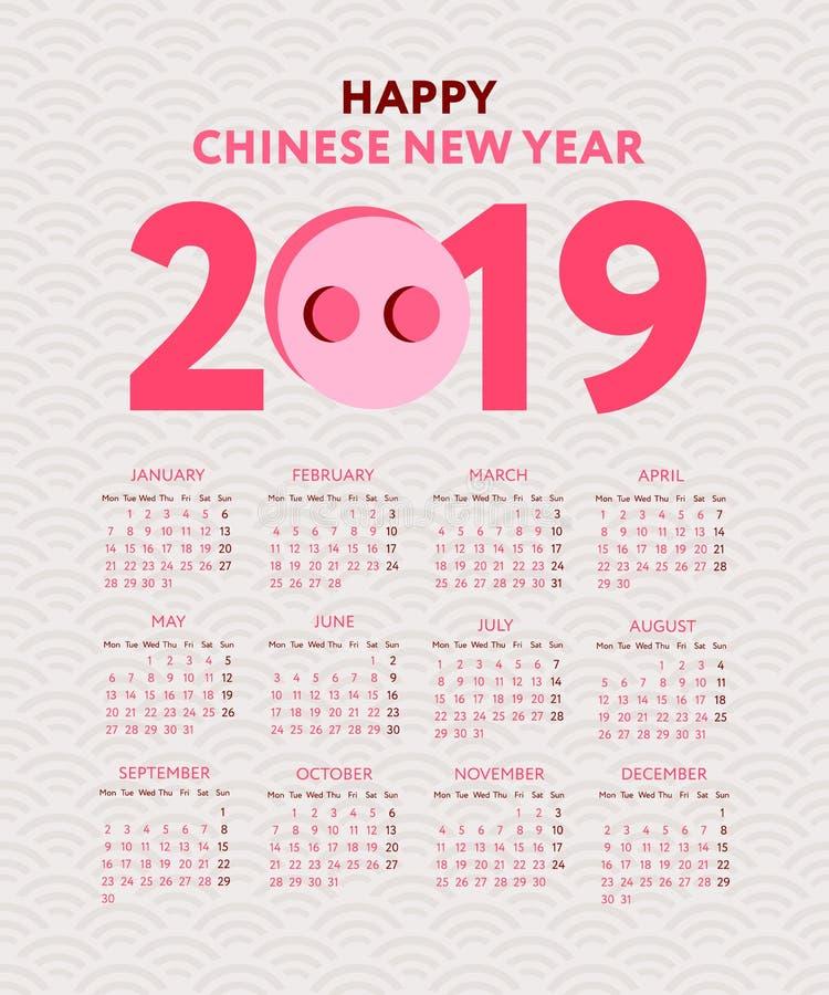 日历2019年 黑白传染媒介模板 在星期天,星期起始时间 基本网格 口袋方形的日历 准备设计 皇族释放例证