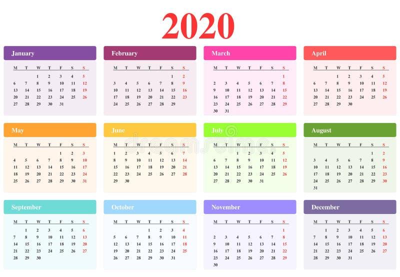 日历2020年:用不同的颜色的月