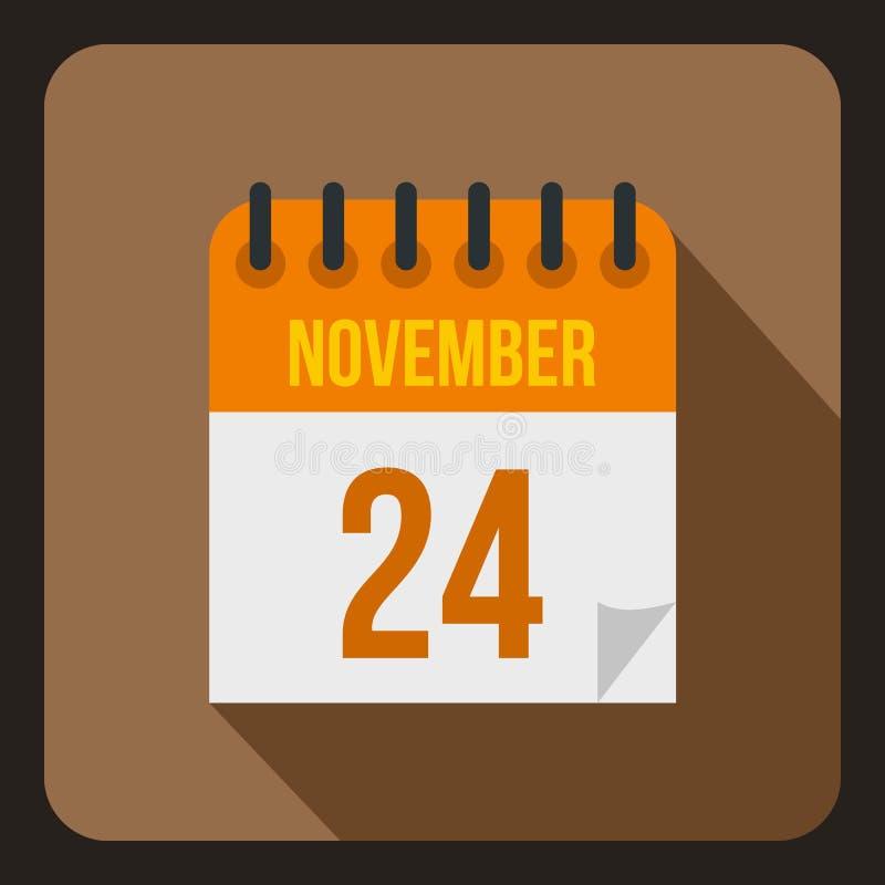 日历11月二十四日象,平的样式 向量例证