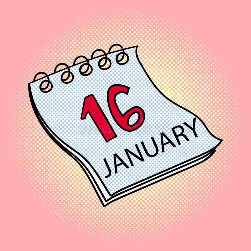 日历1月16日流行艺术传染媒介例证 向量例证