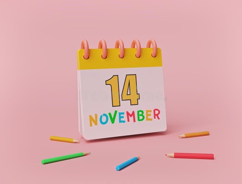 11月14日,在柔和背景下使用彩色铅笔的最小日历 印度儿童日 三维渲染 向量例证