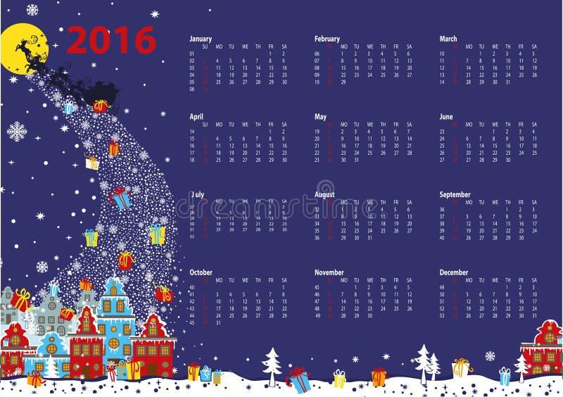 日历2016年 来到城市的圣诞老人 水平 库存例证