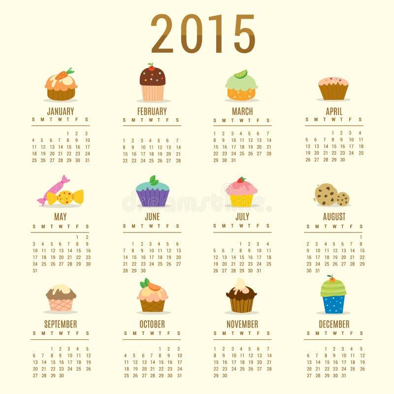 日历2015年杯形蛋糕动画片逗人喜爱的传染媒介 库存例证