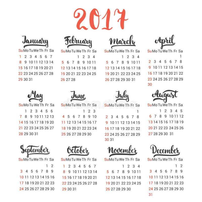 日历2017设计在白色背景的模板传染媒介 第一星期是星期天 套12 库存例证