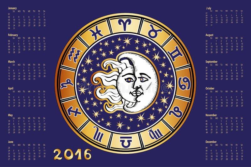 日历2016年 黄道带签到占星圈子 向量例证