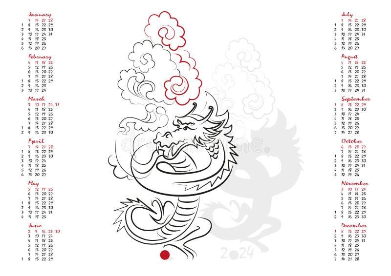 Download 日历2024龙的年 向量例证. 插画 包括有 敌意, 计划, 字符, 查出, 单色, 简单派, 时间, 计划程序 - 62528409