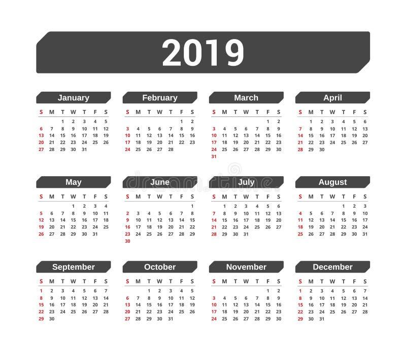2019日历 皇族释放例证