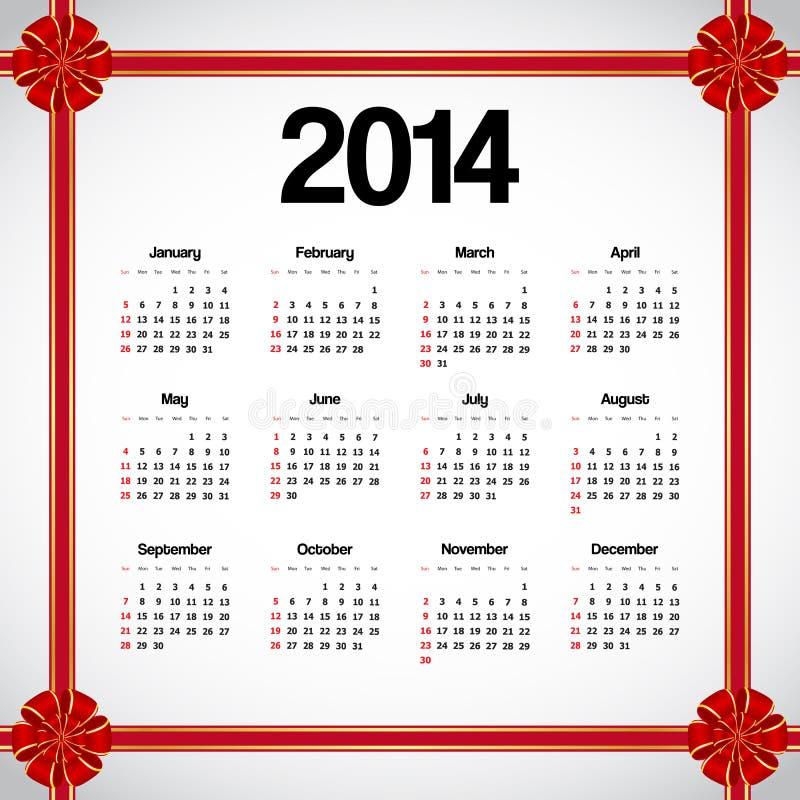 日历2014年 向量例证