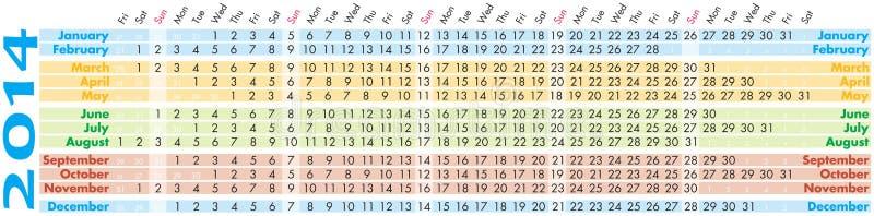 日历2014年 免版税库存照片