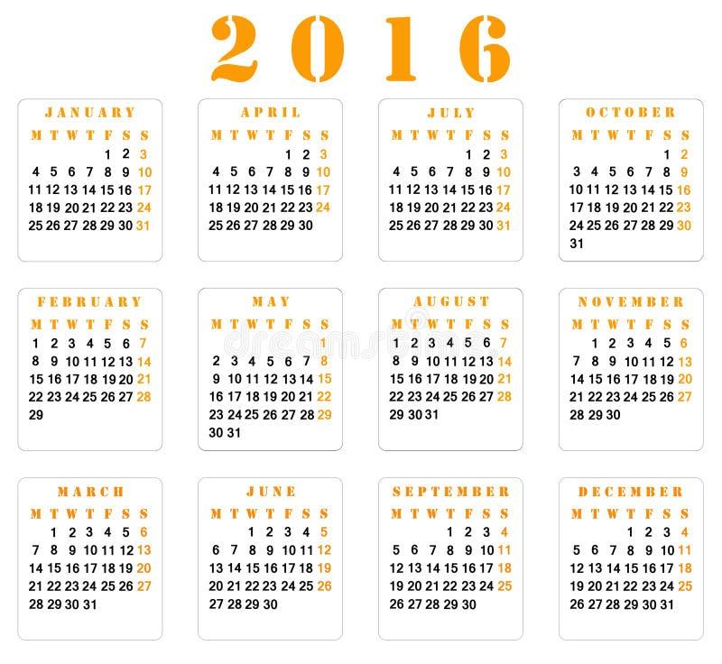 日历2016年 向量例证