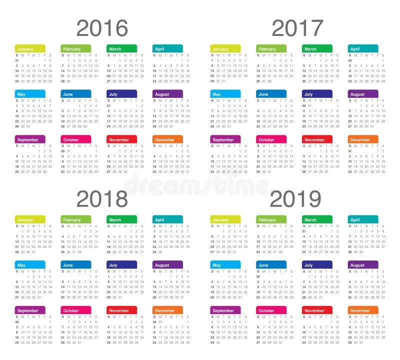 日历2016 2017 2018 2019年 皇族释放例证