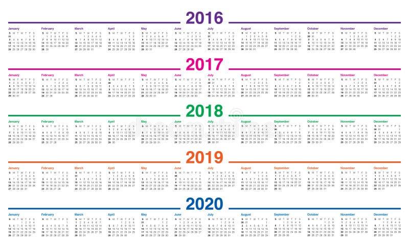 日历2016 2017 2018 2019 2020年 免版税库存照片