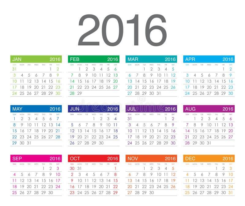 2016年日历 向量例证