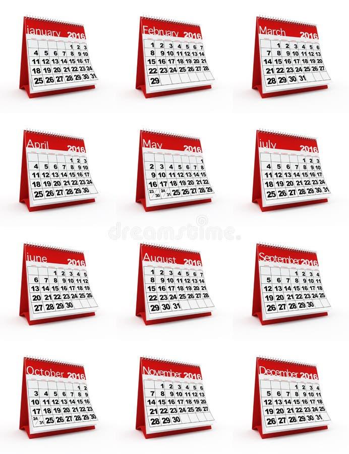 2016日历 向量例证