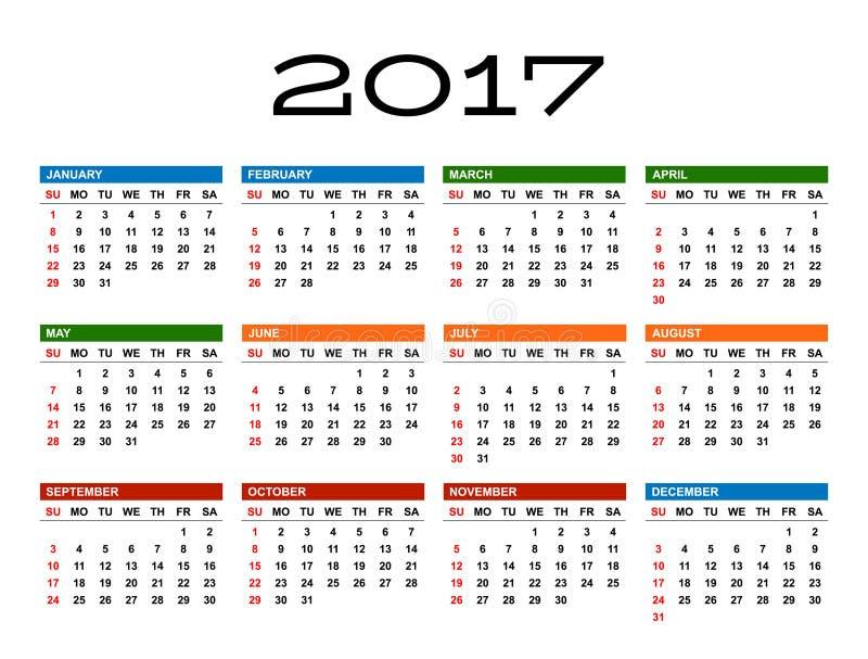 日历2017年 库存例证