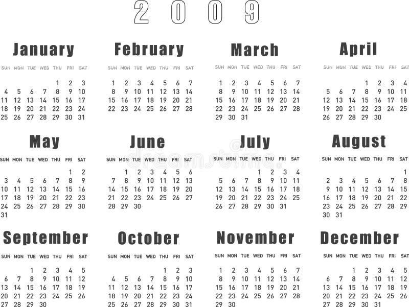 日历2009年 库存例证