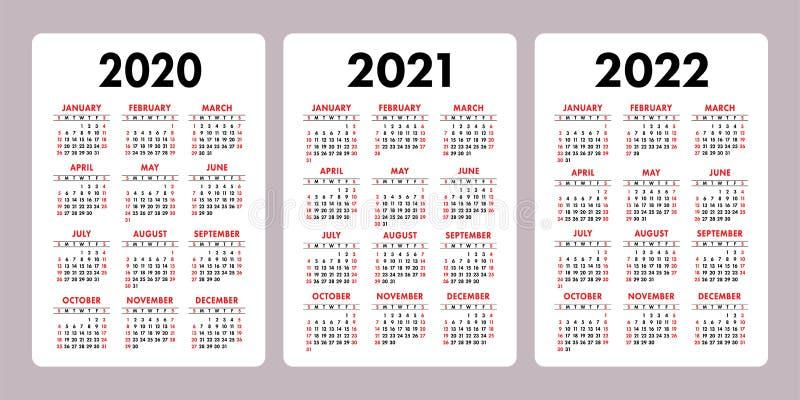 日历2020年2021年,2022年 垂直的传染媒介日历设计模板 集合 在星期天图片