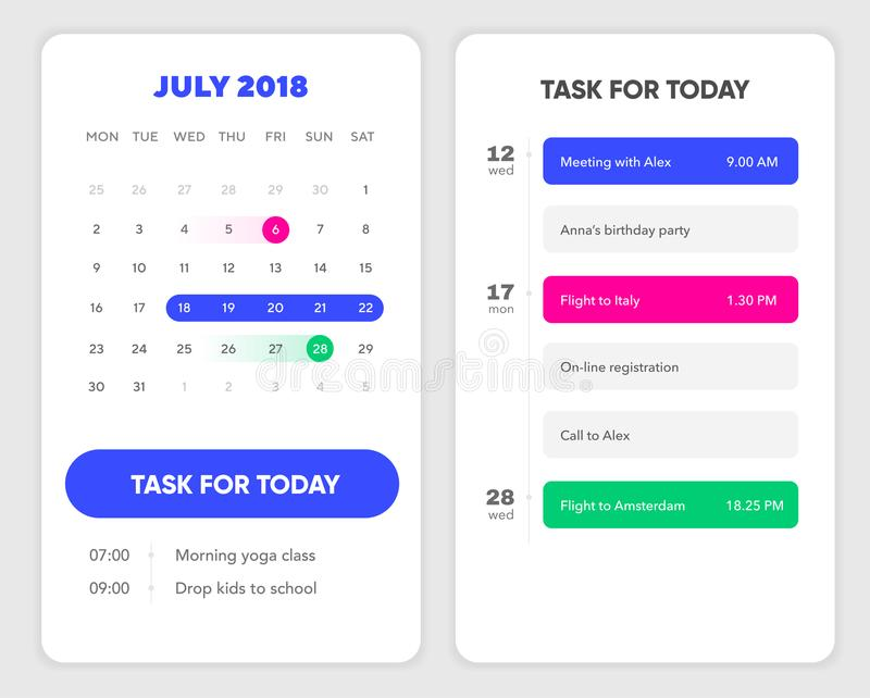 日历UI元素 与要做名单和任务UI UX设计的日历App手机的 向量例证