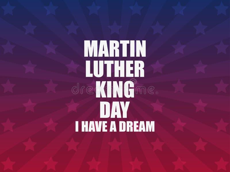 日国王luther马丁 梦想有i 与星和光芒的贺卡 Mlk天 向量 皇族释放例证