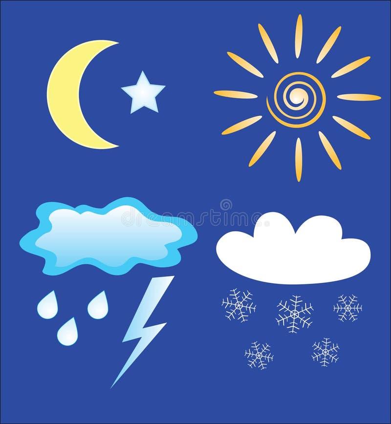 日图标晚上天气 库存照片