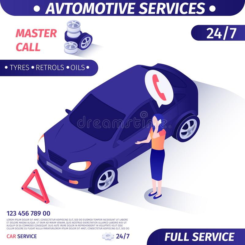 日夜不停的客户支持汽车服务的广告 皇族释放例证