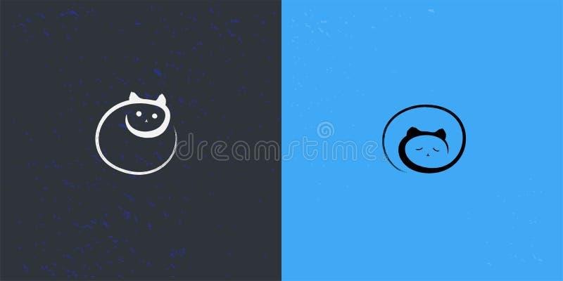 日夜与绘画样式的猫标志 库存例证