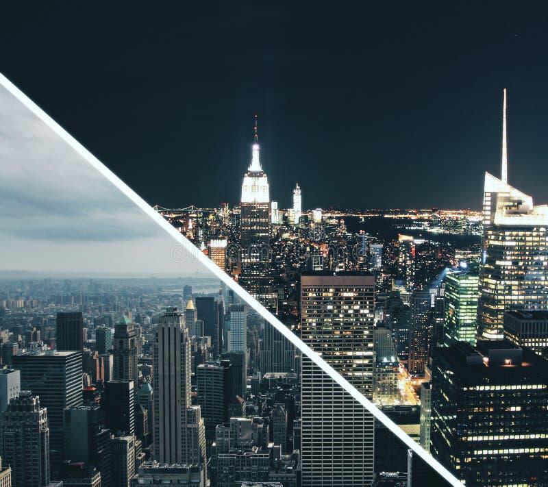 日夜城市墙纸 免版税库存图片