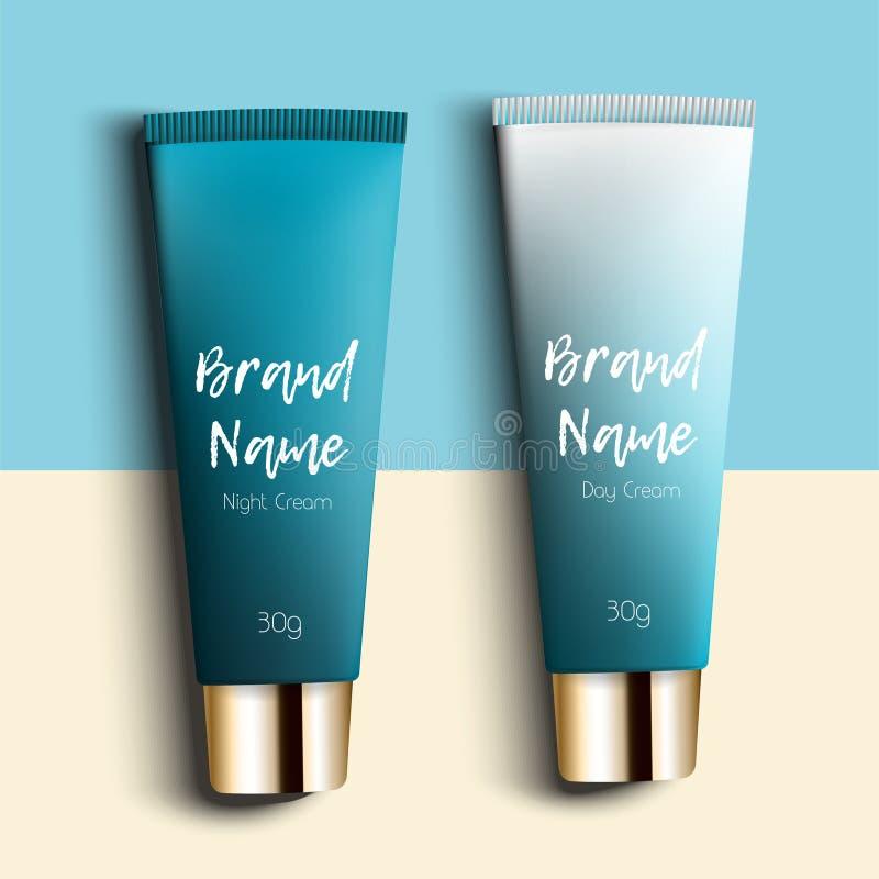 日夜奶油 现实包装与三块模板的化妆用品的 明亮管子的奶油-,时髦,年轻 库存例证