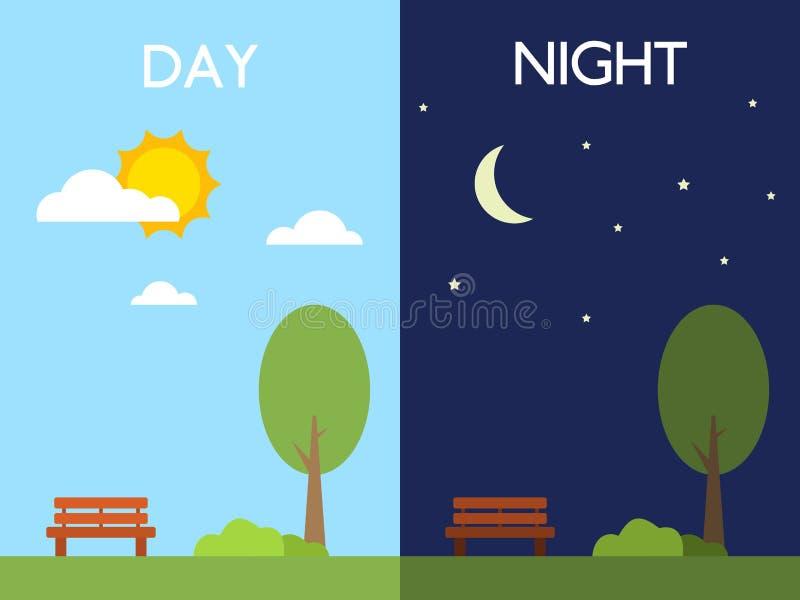 日夜概念 太阳和月亮 树和长凳在好天气 与云彩的天空在平的样式 不同的期间 皇族释放例证