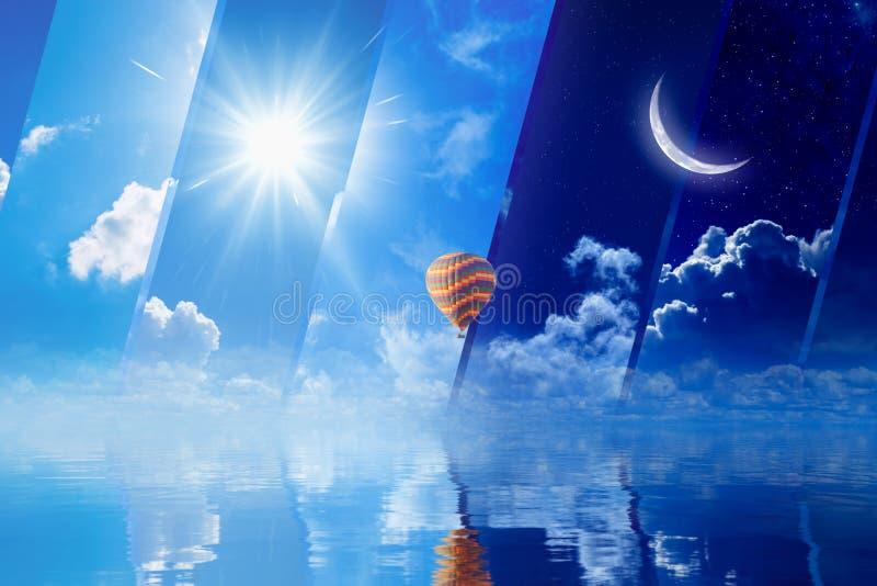 日夜,太阳和月亮,热空气在海上的气球飞行 免版税库存图片