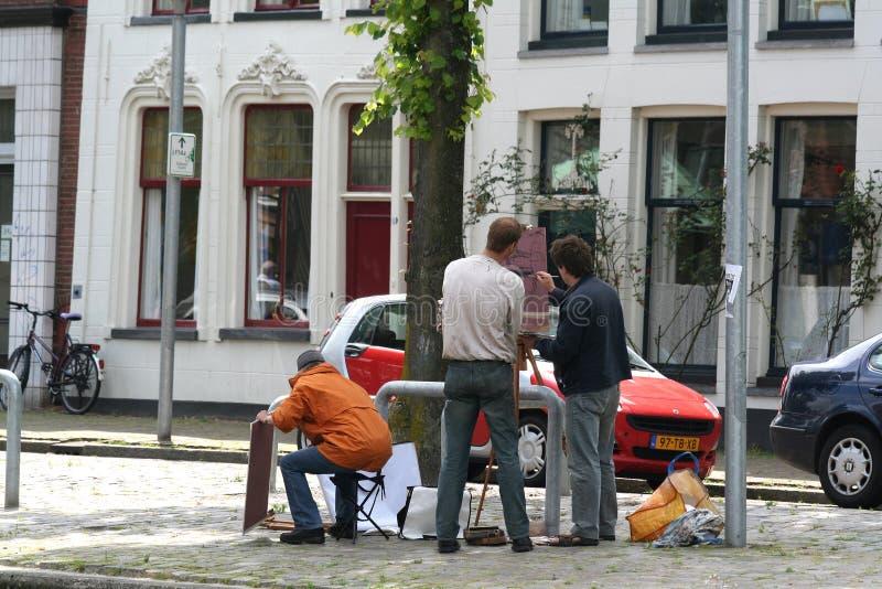日常生活和城市视图在格罗宁根 库存图片