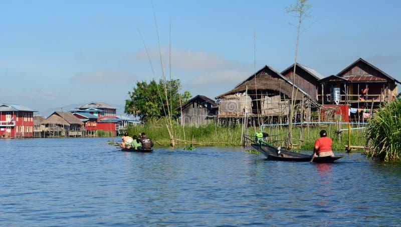 日常生活在Inle湖 缅甸 图库摄影
