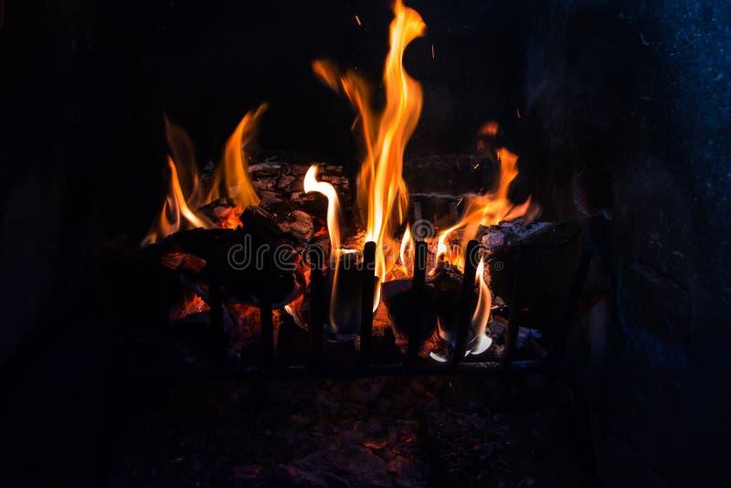 日志和煤炭在火 免版税库存图片