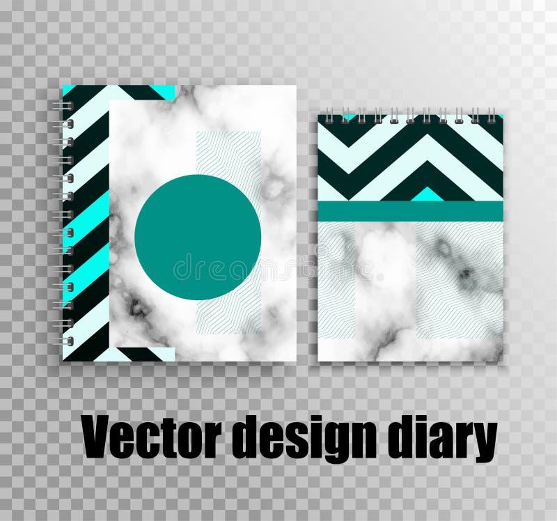 日志和笔记本的时髦的设计 向量例证