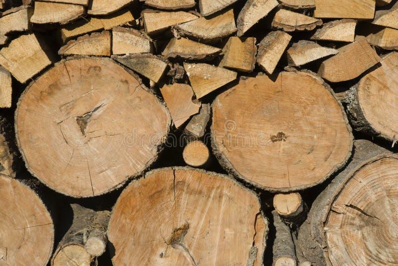 日志堆木头 免版税库存照片