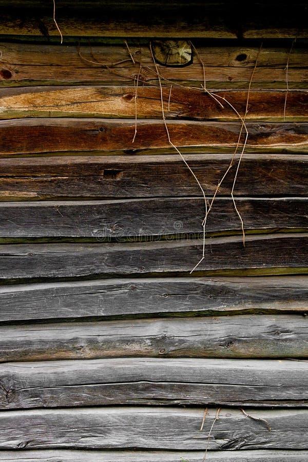 从日志的木墙壁作为背景纹理 免版税库存照片