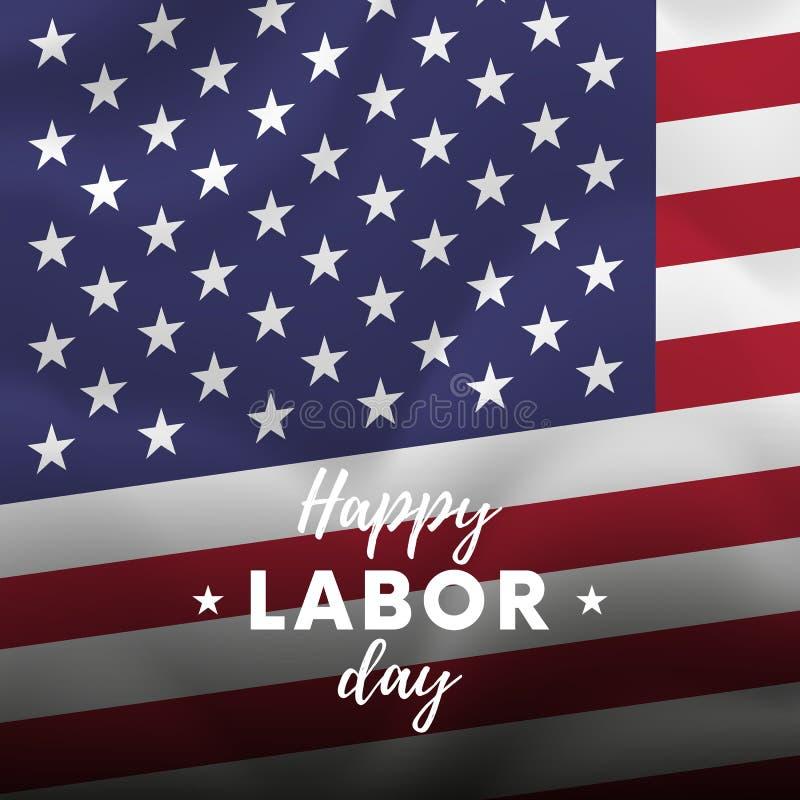 日愉快的人工 背景烟花标志夜空满天星斗的美国 挥动的标志 向量 库存例证