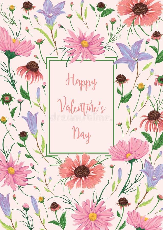 日愉快的华伦泰 与会开蓝色钟形花的草和春黄菊花的贺卡 土气浪漫花卉背景 库存例证