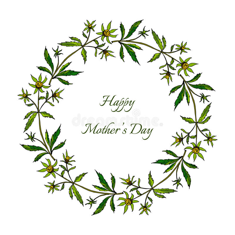 日愉快的母亲 与花的春天花圈 向量例证