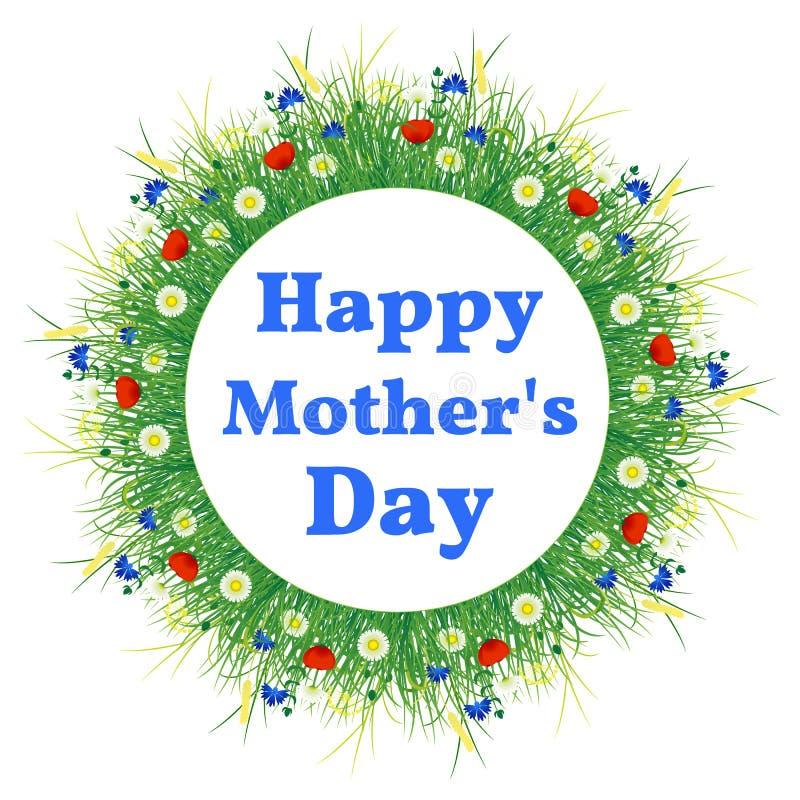 日愉快的母亲 草甸花花圈的背景  库存例证